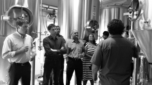 Clients on brewery tour